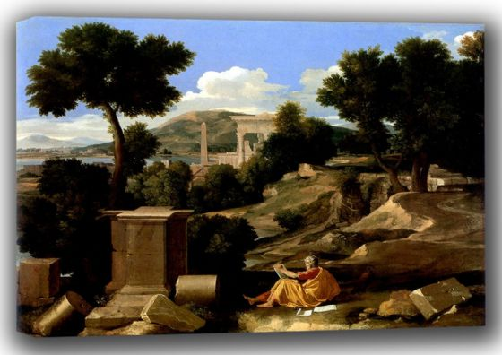 Poussin, Nicolas: Landscape with St James in Patmos. Fine Art Canvas. Sizes: A4/A3/A2/A1 (001664)